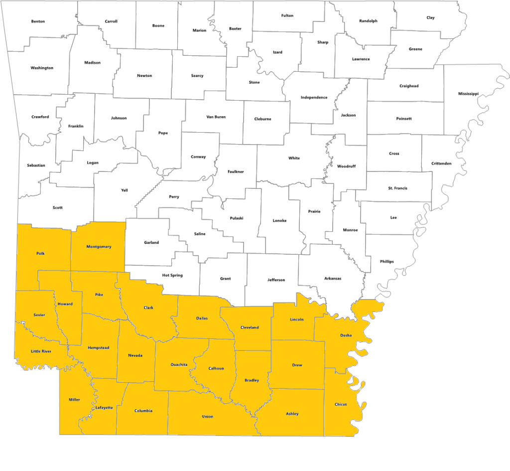 Arkansas state map with counties served by El Dorado office highlighted
