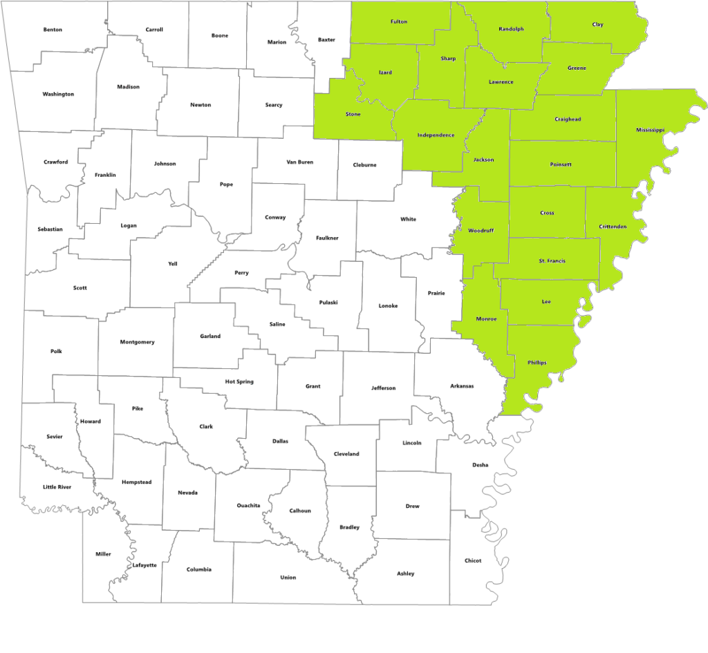 Arkansas state map with counties served by Jonesboro office highlighted