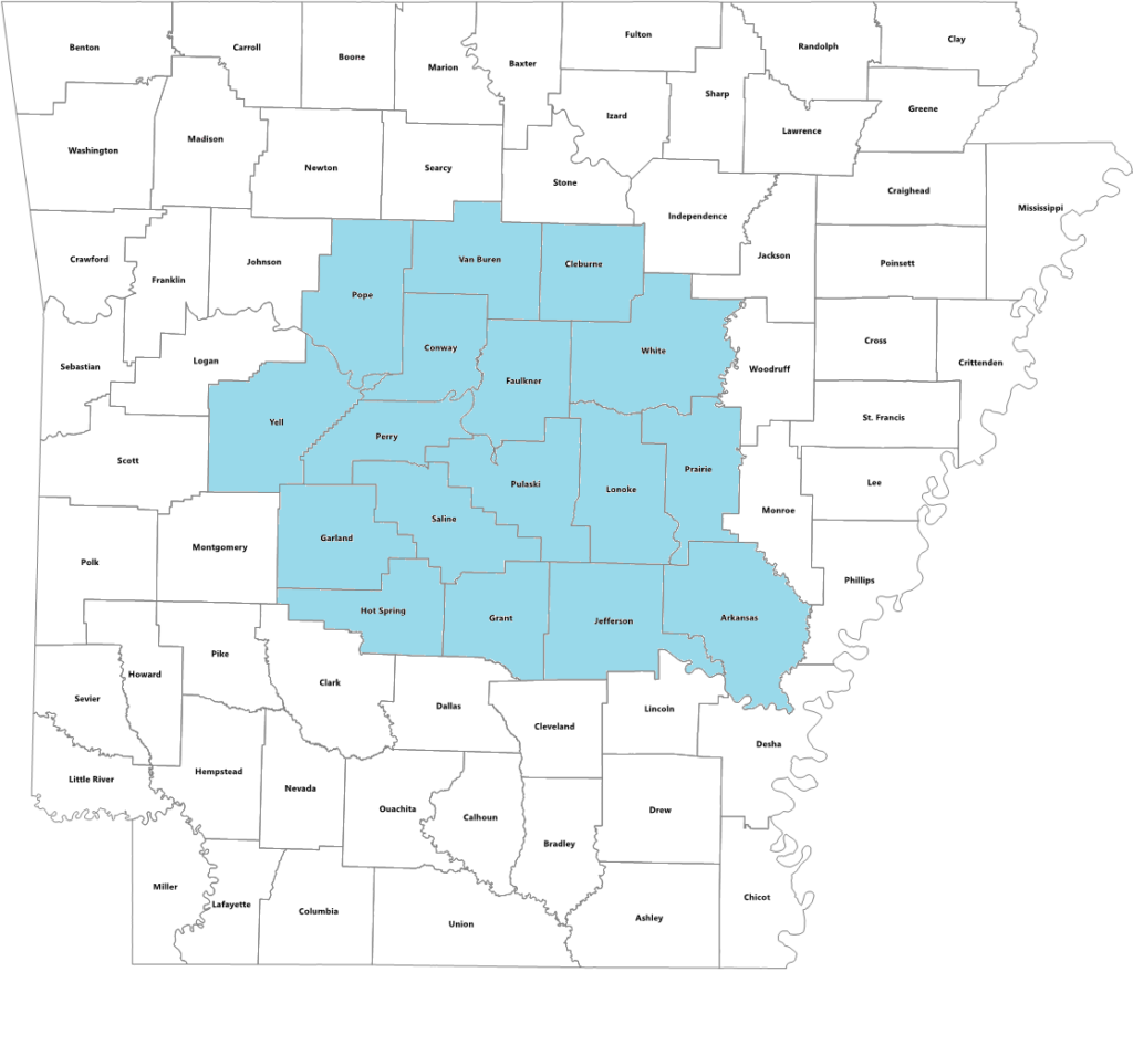 Arkansas state map with counties served by Little Rock office highlighted